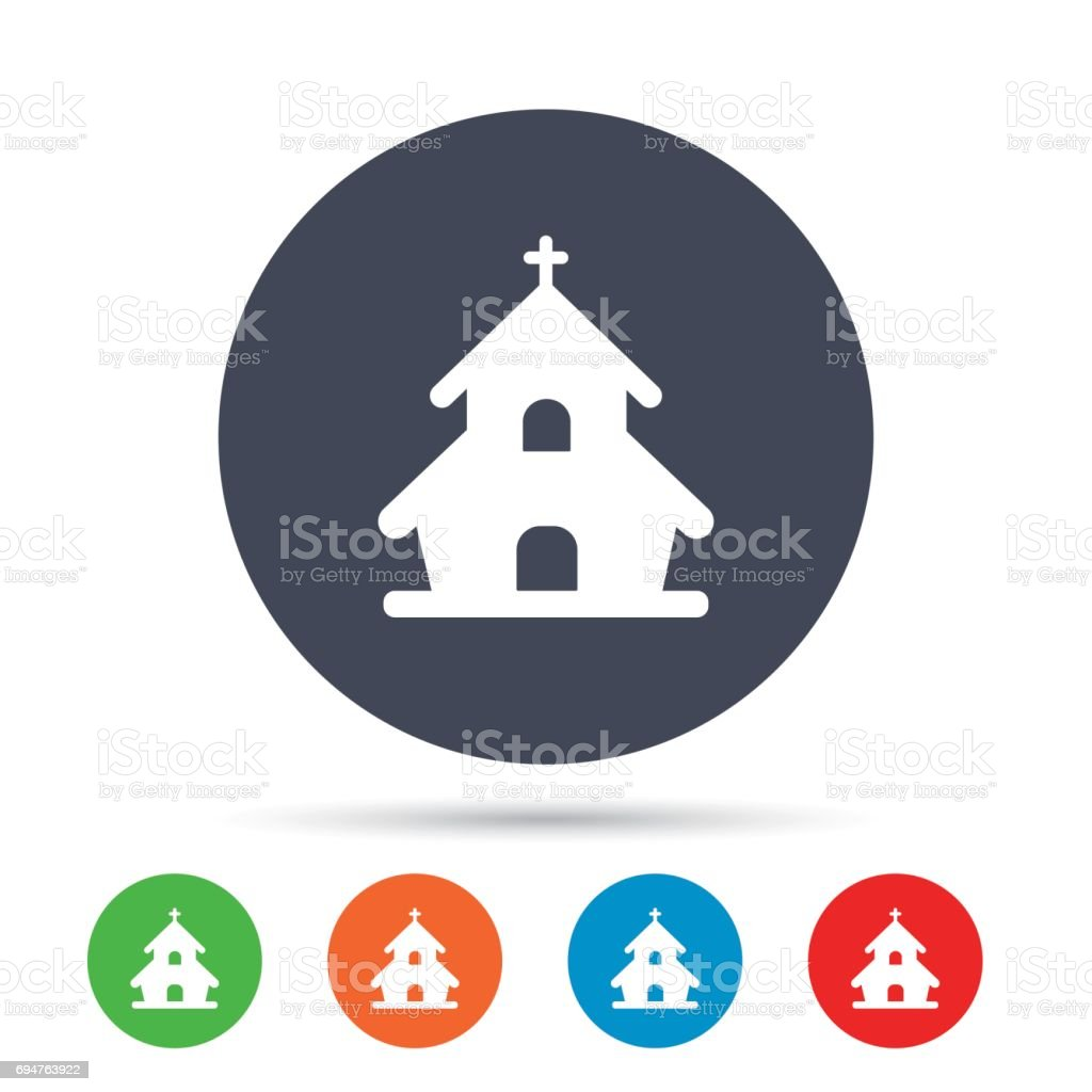 Church icon. Christian religion symbol. Chapel with cross on roof....
