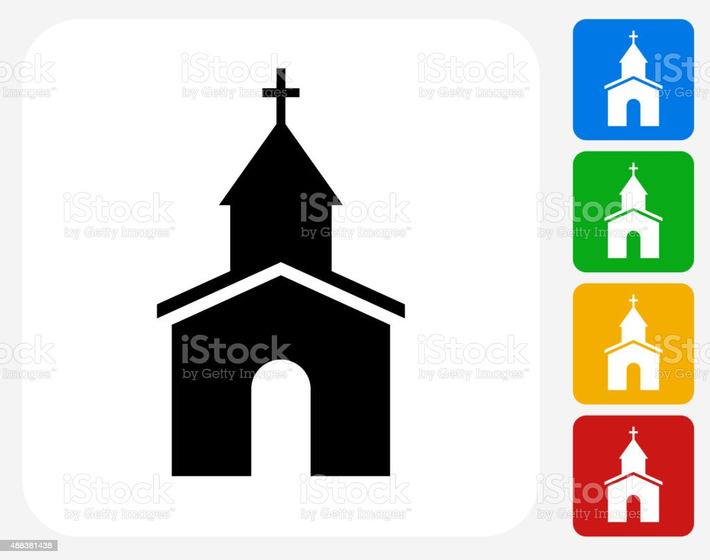 Church Icon Flat Graphic Design vector art illustration