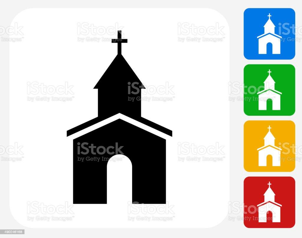 Church Icon Flat Graphic Design vector art illustration