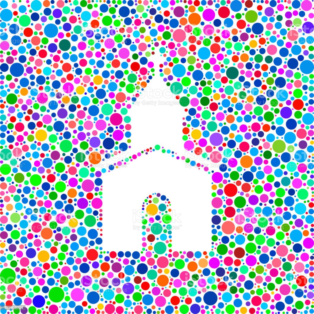 Church Icon on Color Circle Background Pattern vector art illustration