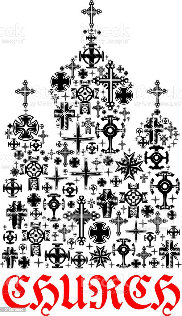Church icon. Religion christianity cross symbols in shape of temple...