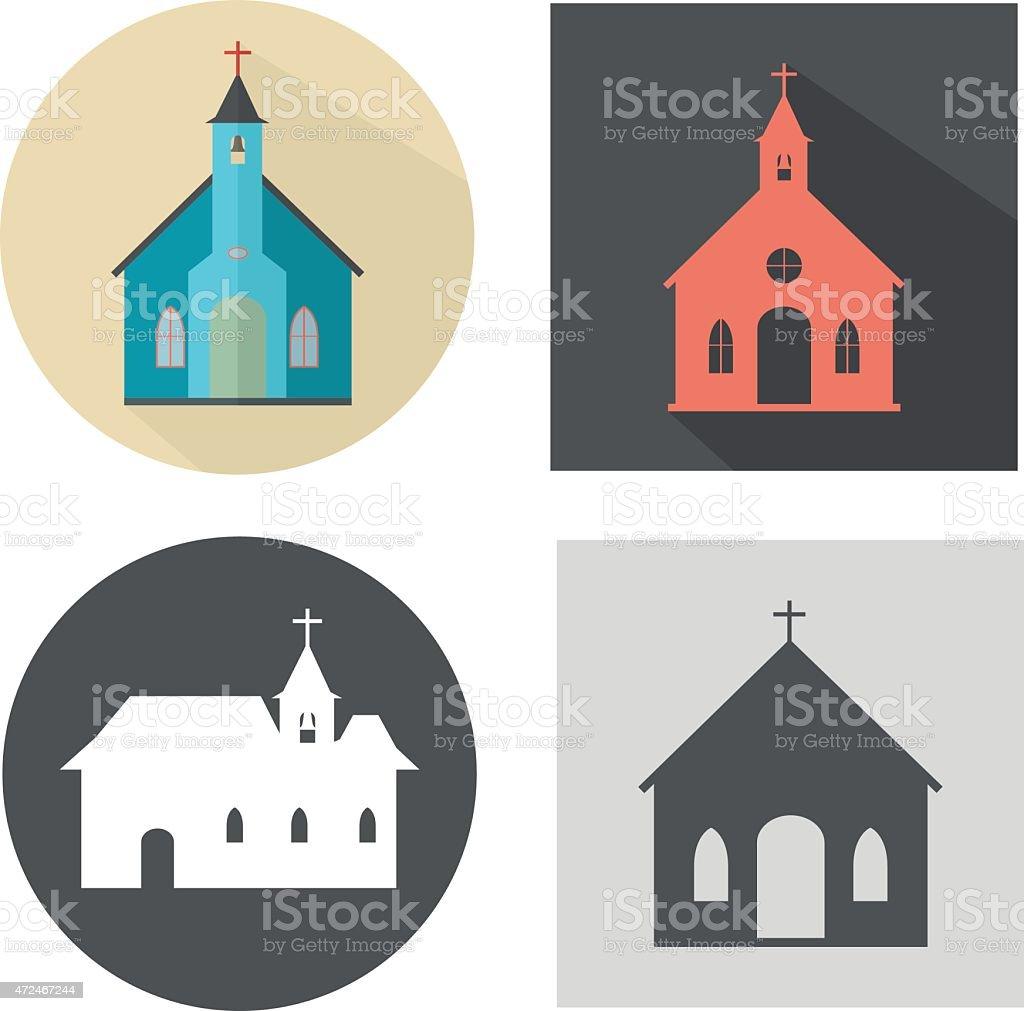 Church icon set vector art illustration