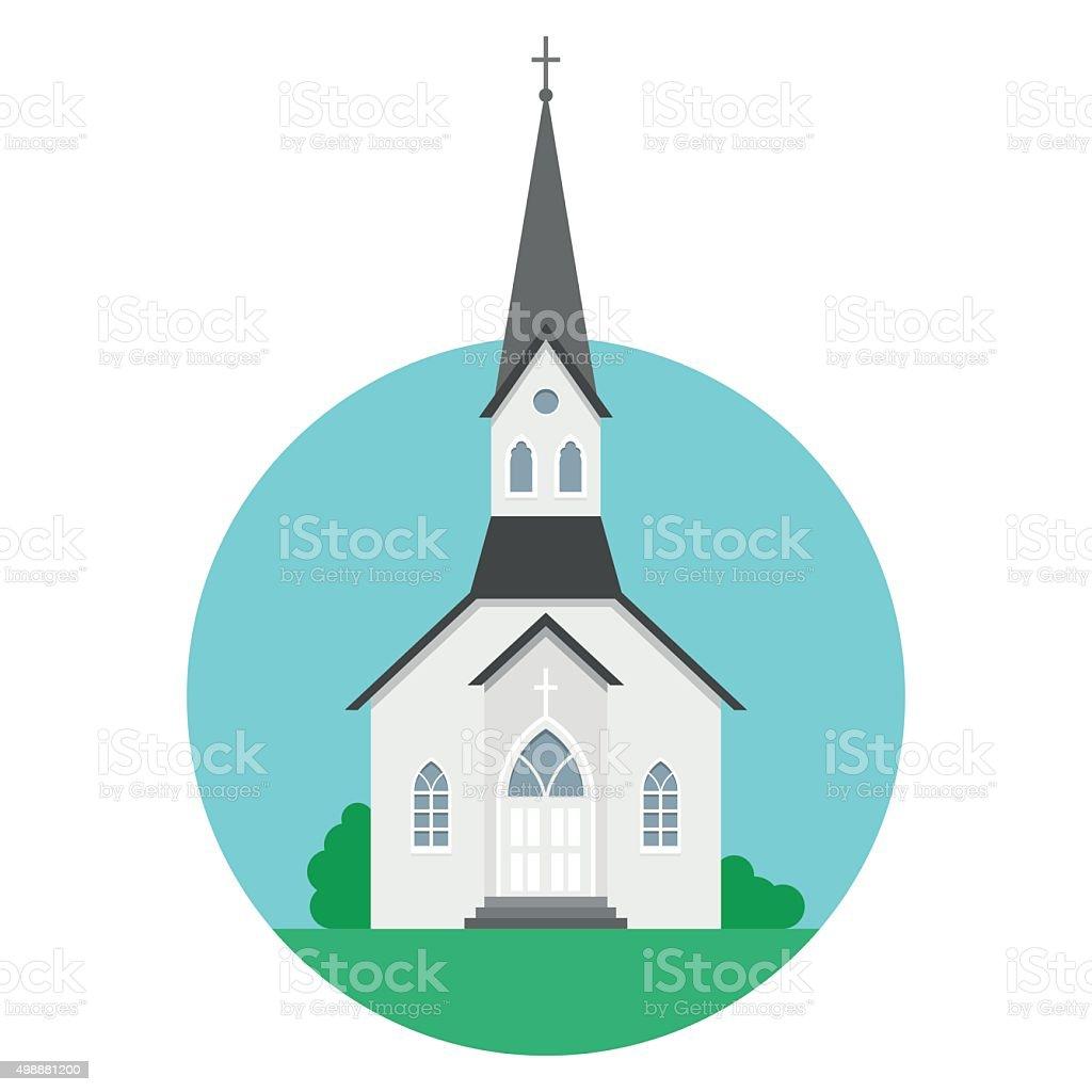 Church in flat style vector art illustration