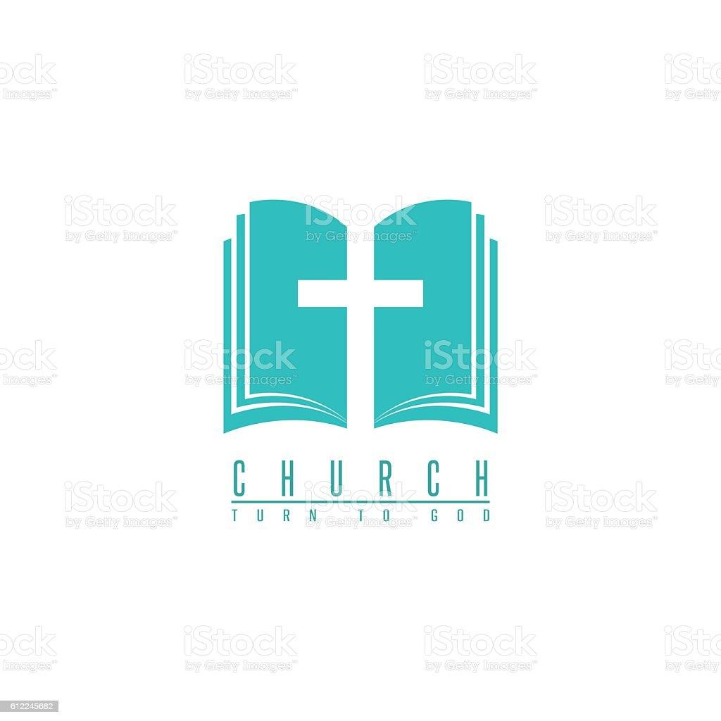 Church logo, cross and abstract bible religion symbol, faith icon vector art illustration