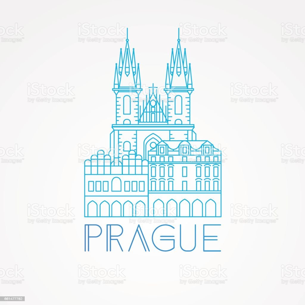Church of Our Lady before Tyn - The symbol of Prague, Czech vector art illustration