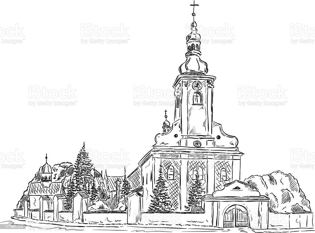 Church of St. Lawrence vector art illustration