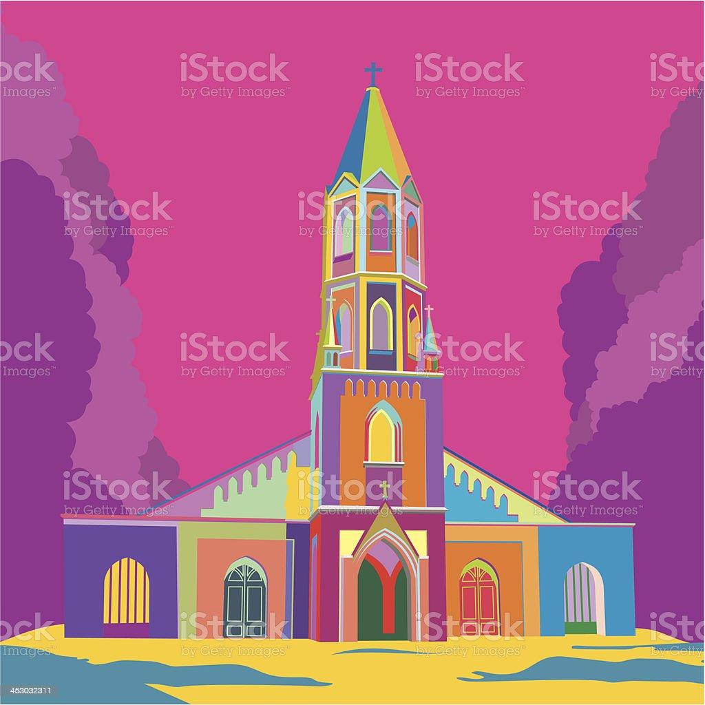 Church vector art illustration