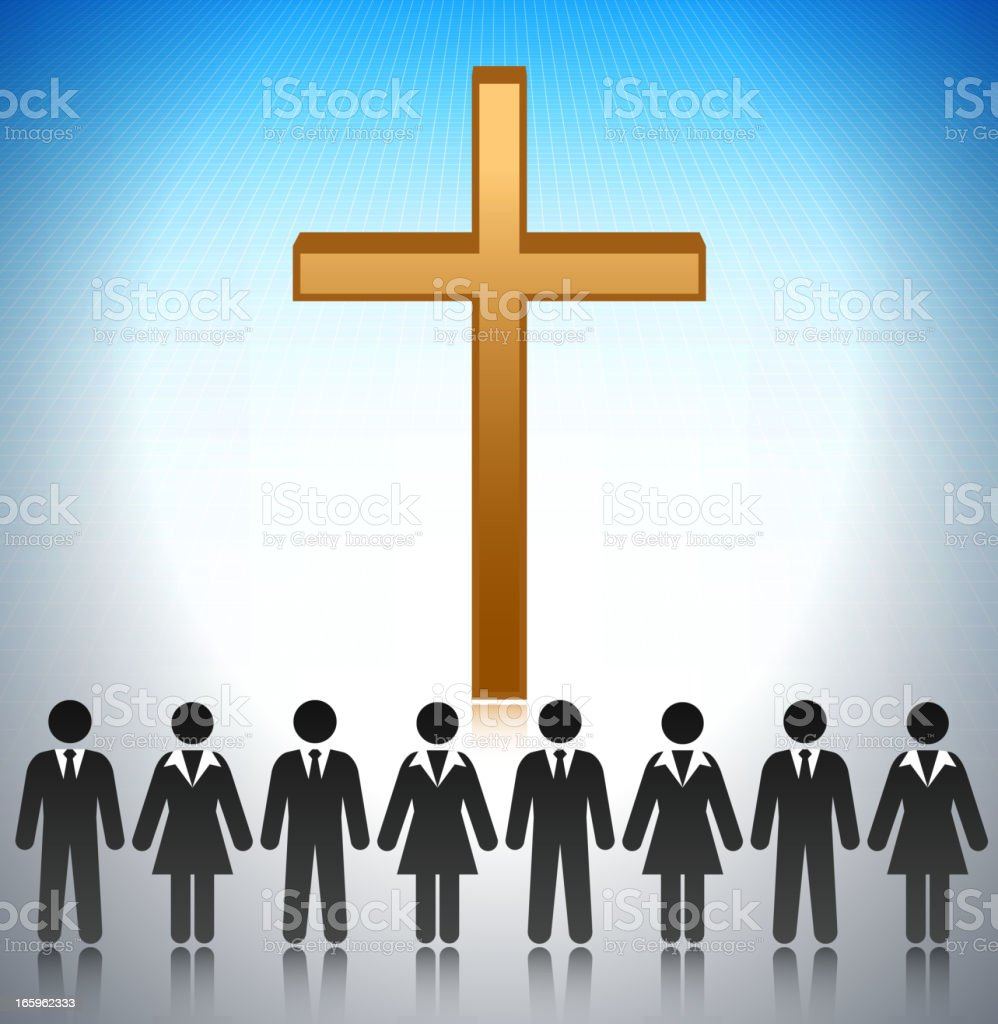 Church with Business Team Concept Stick Figures vector art illustration