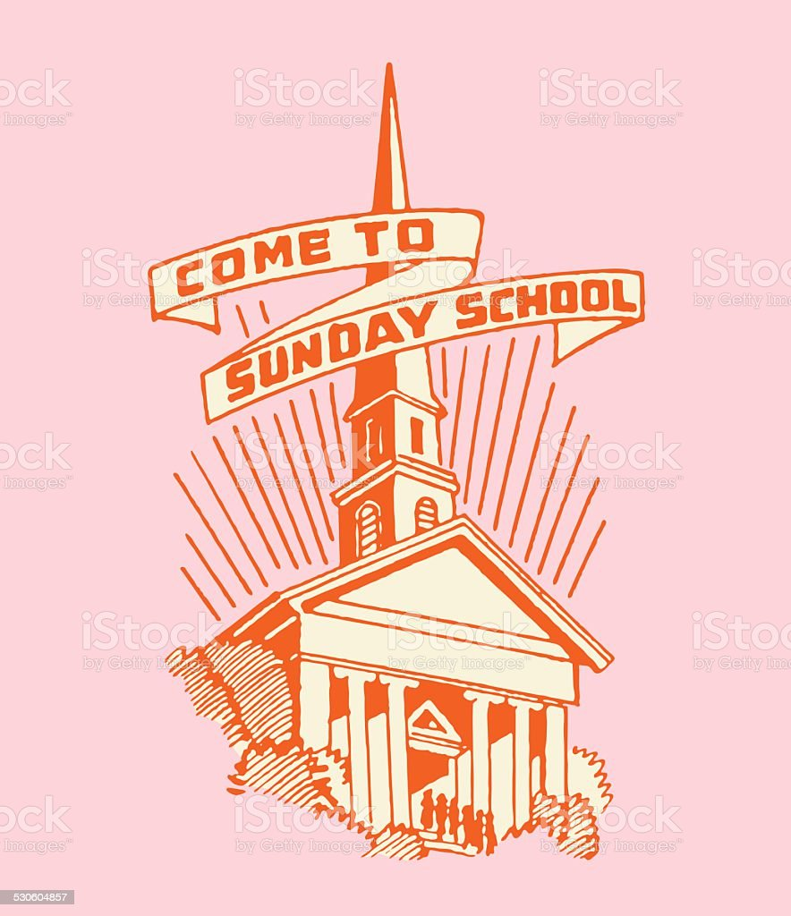 Church with Come to Sunday School Banner vector art illustration