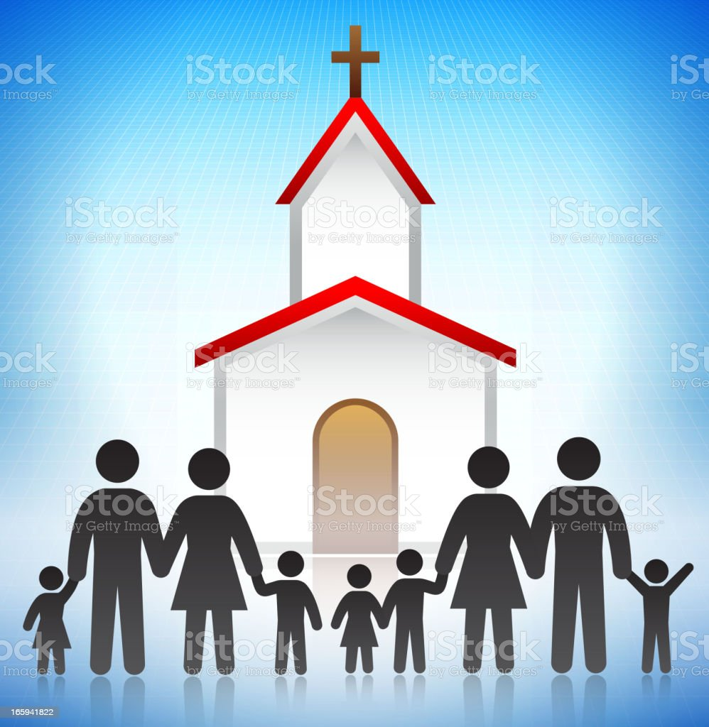 Church with the Family Concept Stick Figures vector art illustration