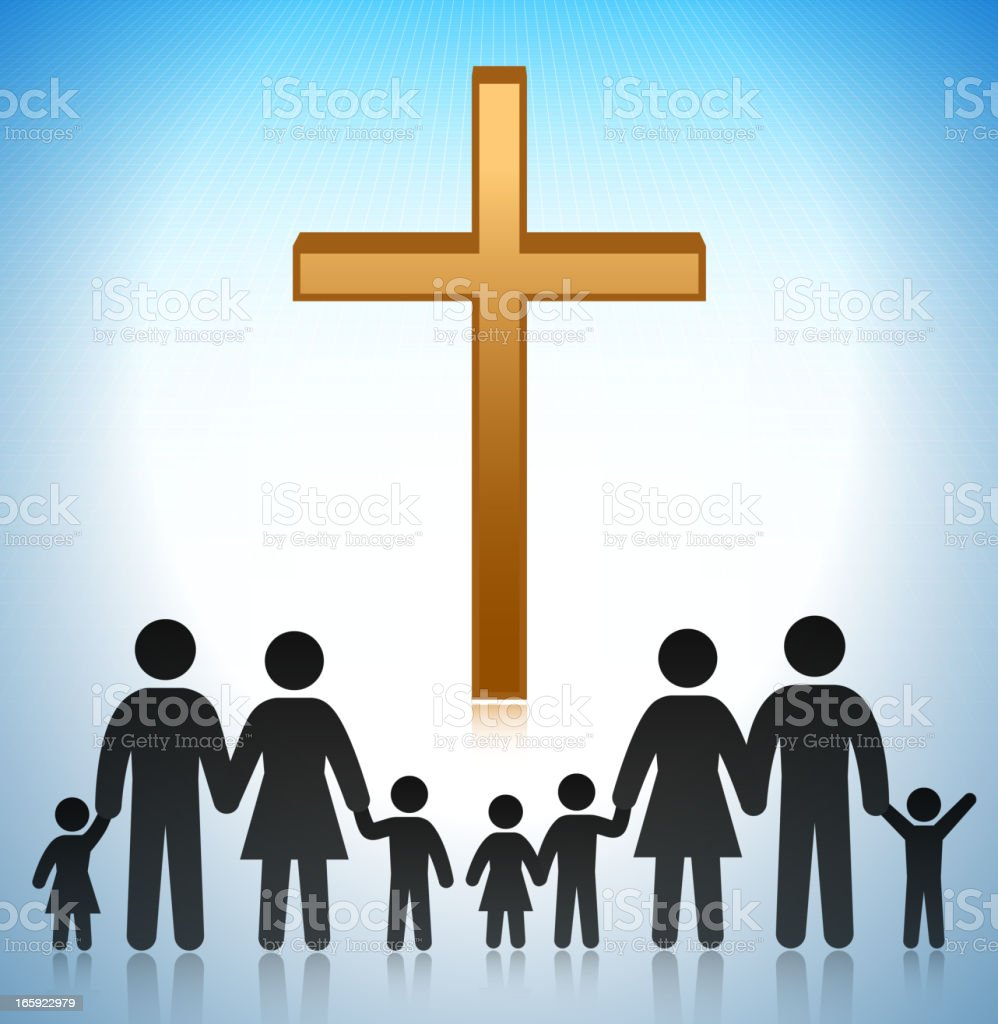 Church withe the Family Concept Stick Figures vector art illustration