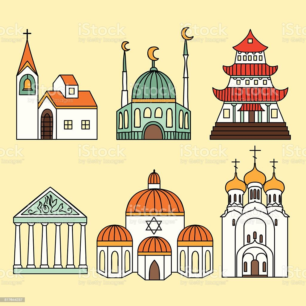 Churches infographic set vector art illustration