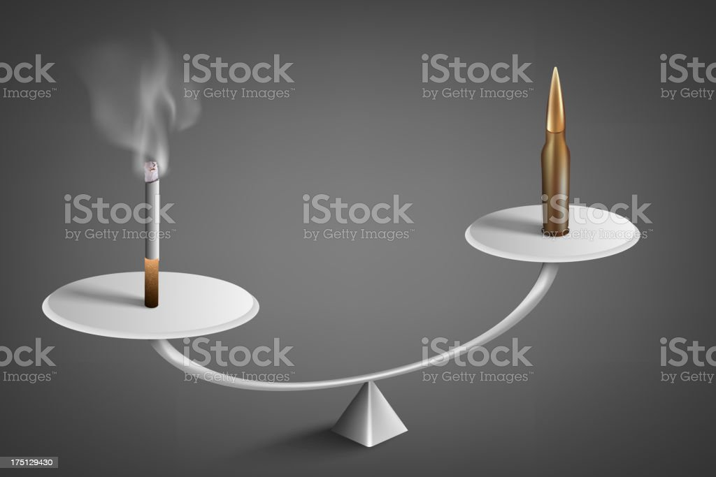 Cigarette and bullet royalty-free stock vector art
