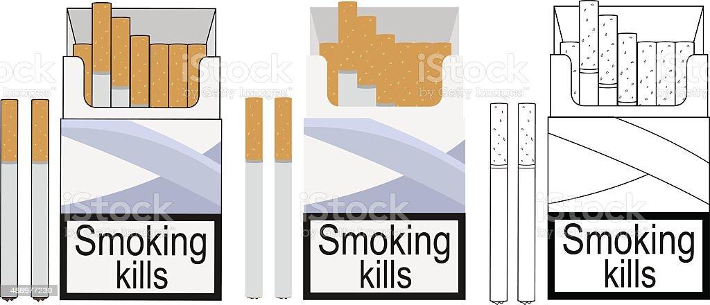 Cigarette pack icons. Color, no outline, linea vector art illustration