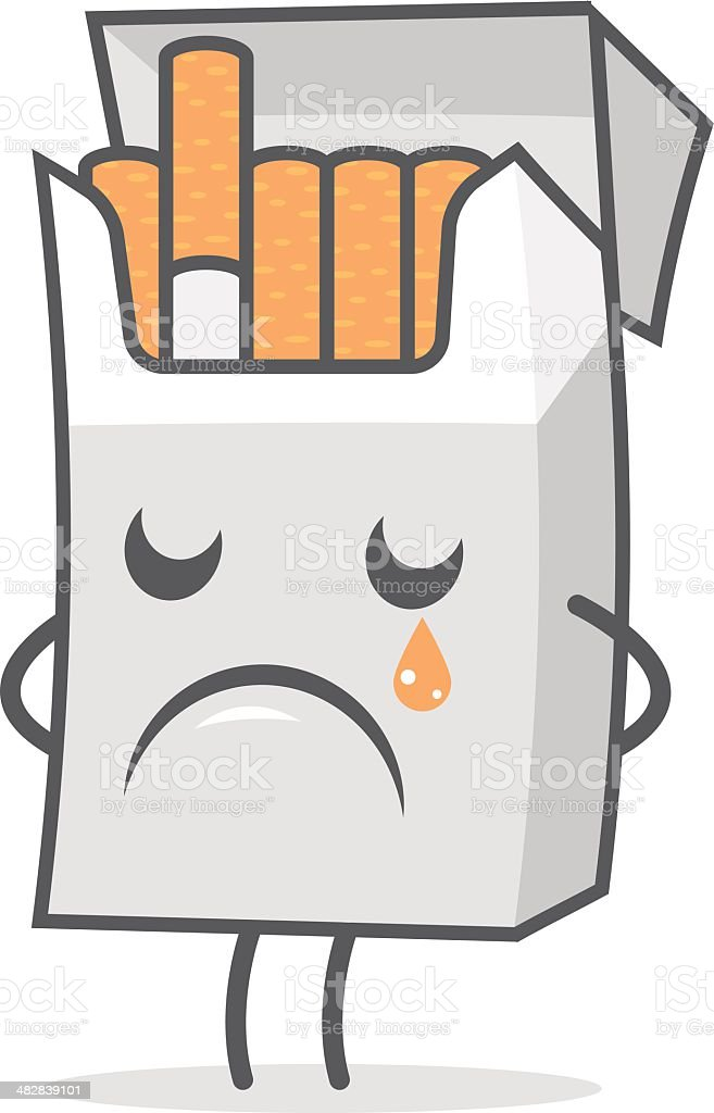 Cigarette pack weeps and sad royalty-free stock vector art