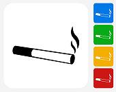 Cigarette Smoking Icon Flat Graphic Design