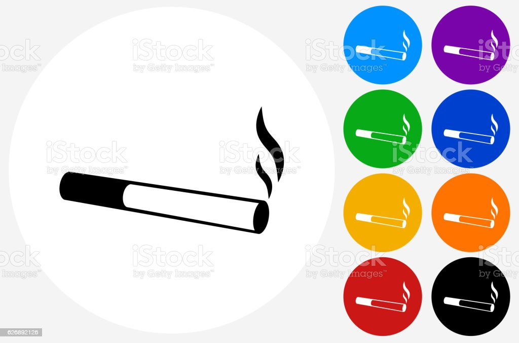Cigarette Smoking Icon on Flat Color Circle Buttons vector art illustration
