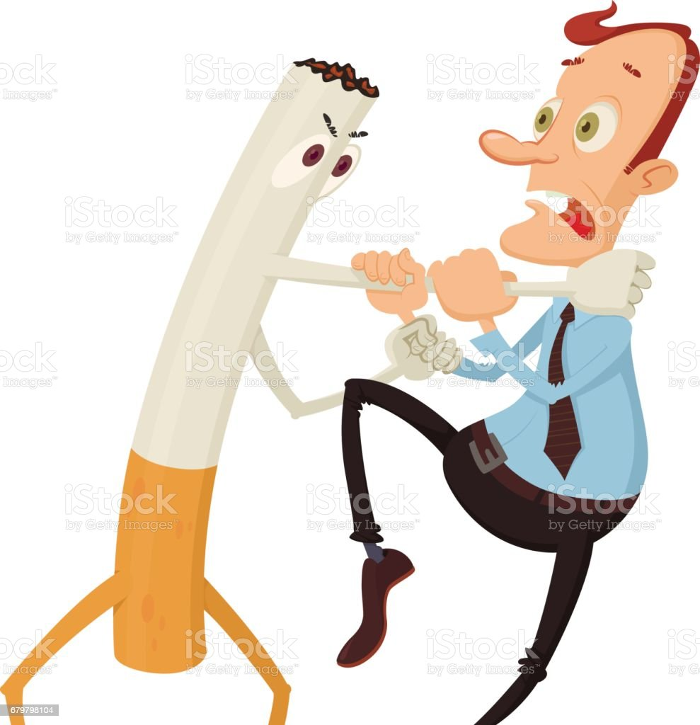cigarette strangling  man vector art illustration