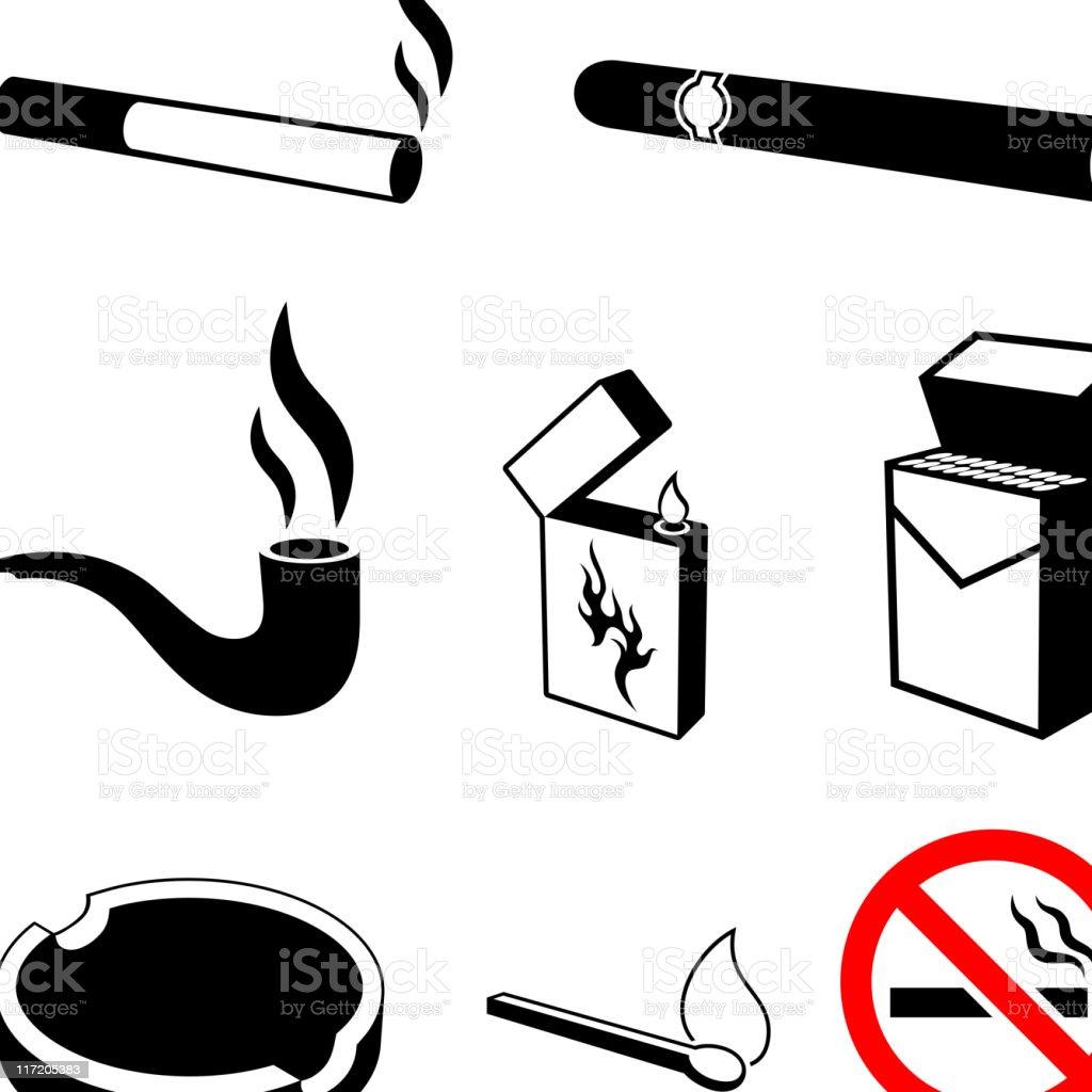 cigarettes and smoking black & white vector icon set vector art illustration