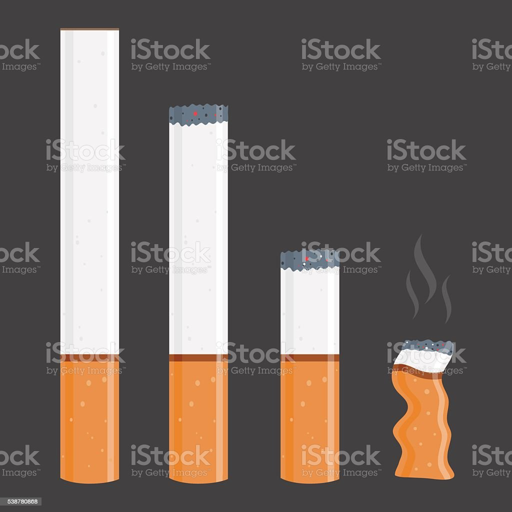 Cigarettes In Different Stages vector art illustration