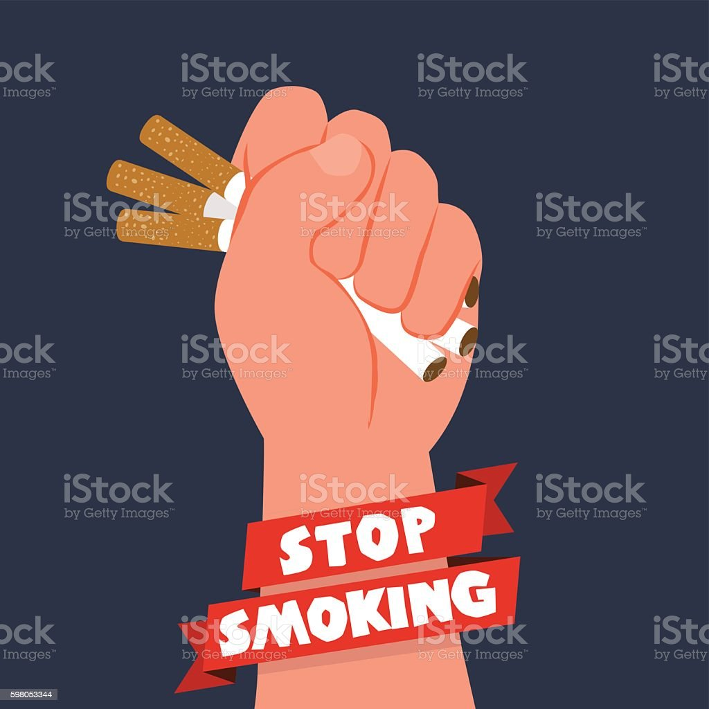 Cigarettes in fist hand. giving up smoking. stop smoking concept vector art illustration