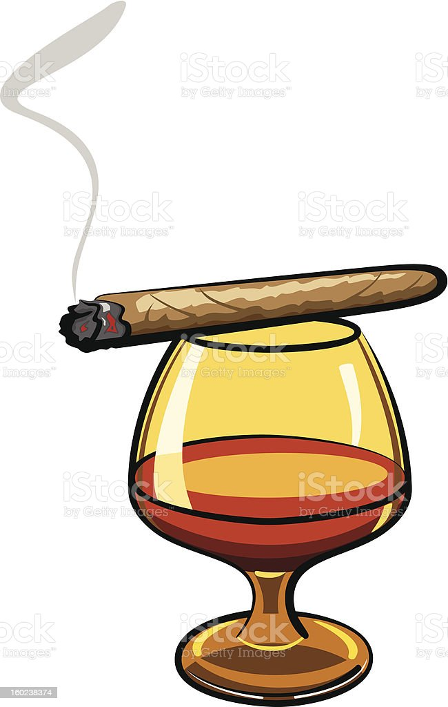 Cigars and Brandy vector art illustration
