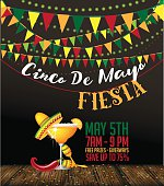 Cinco De Mayo fiesta bunting background