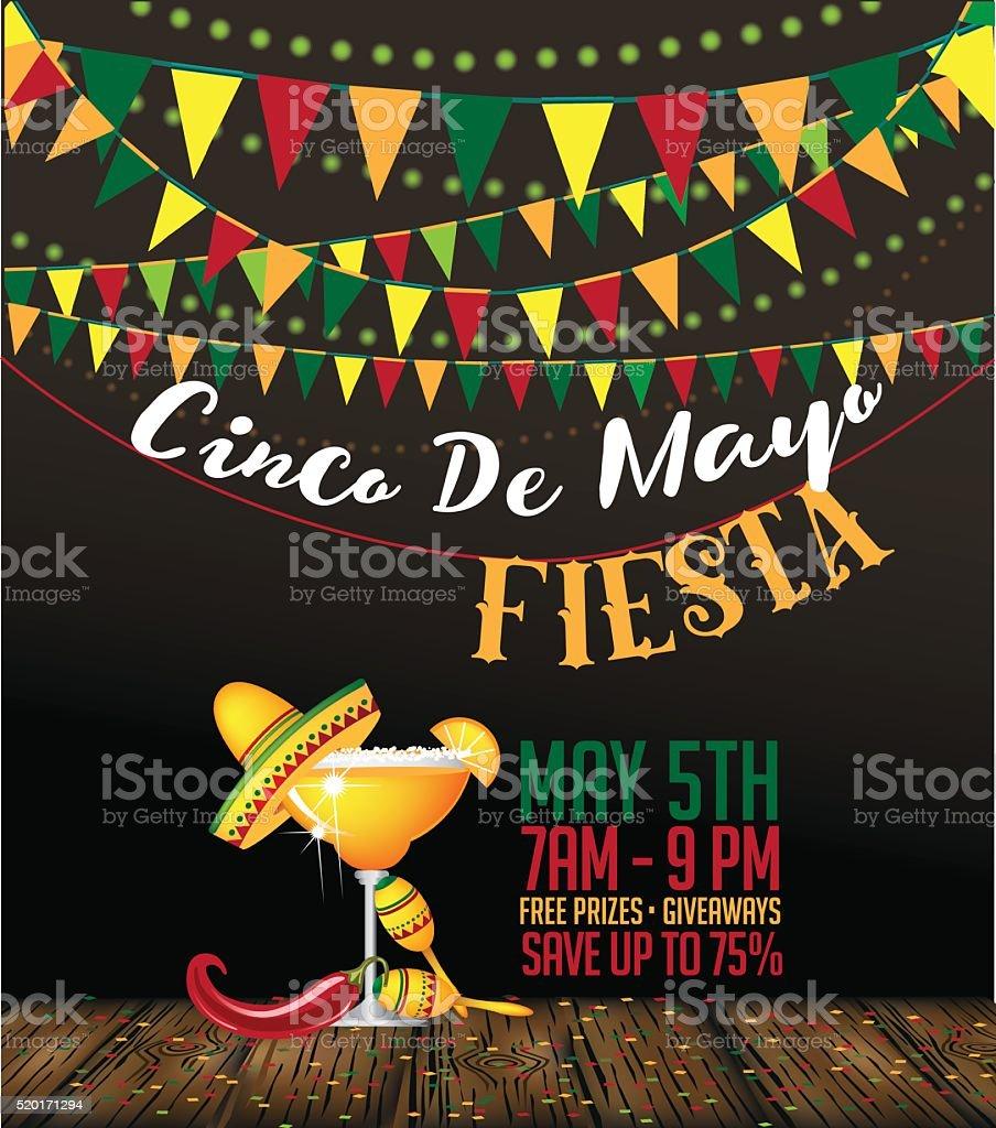 Cinco De Mayo fiesta bunting background vector art illustration