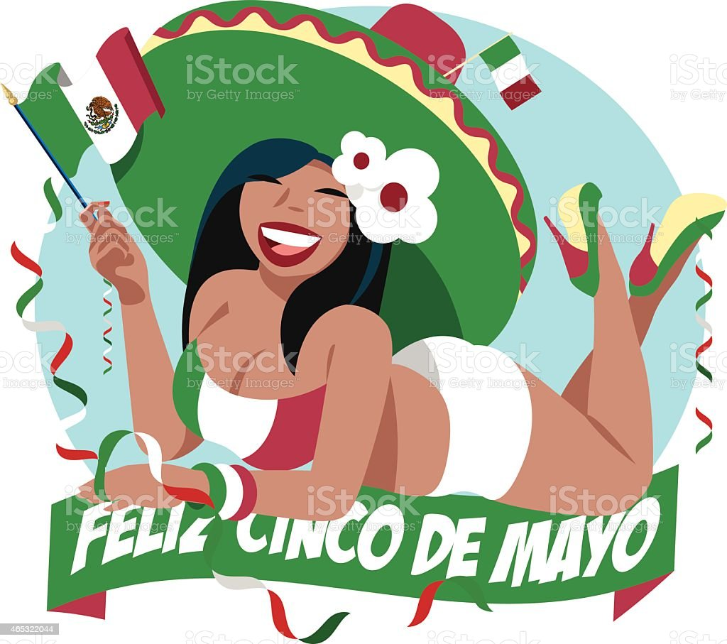 Cinco de Mayo girl vector art illustration