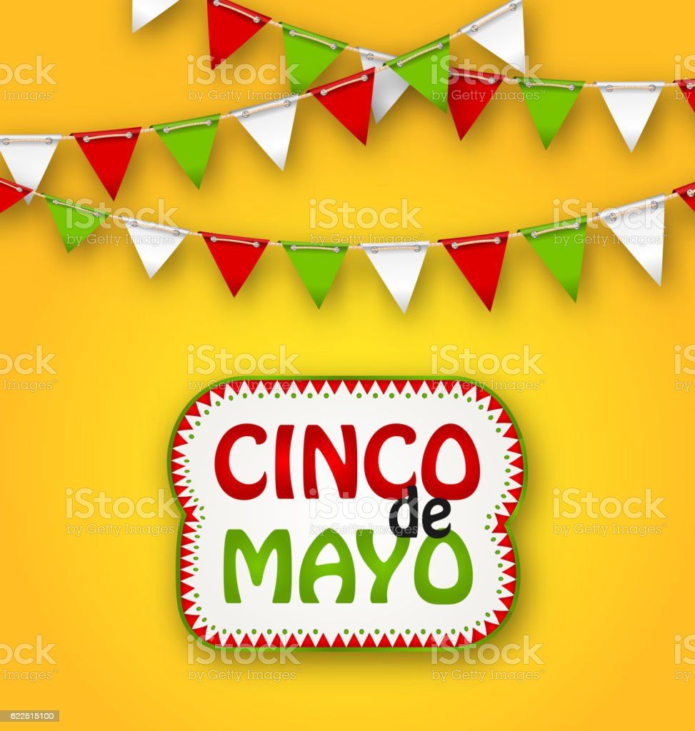 Cinco De Mayo Holiday Bunting Background. Mexican Poster vector art illustration