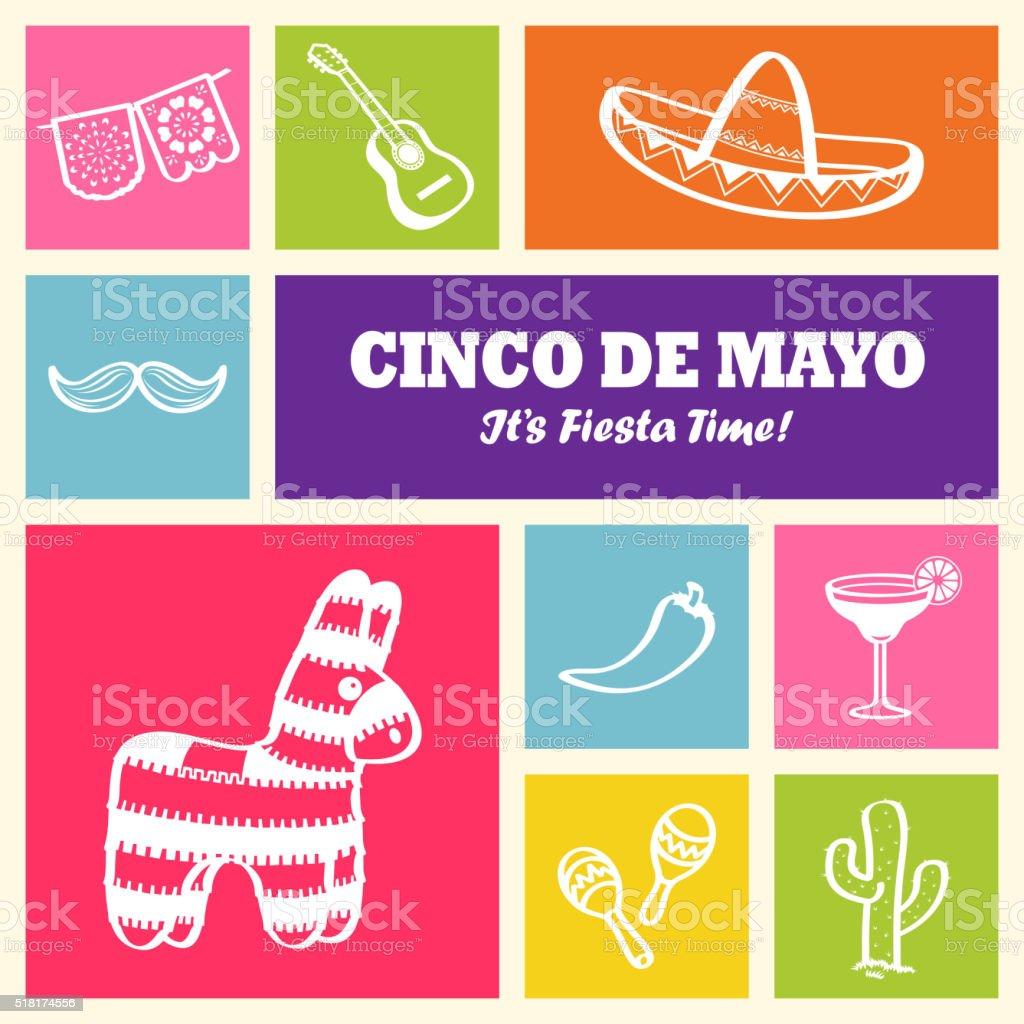 Cinco De Mayo Icons vector art illustration