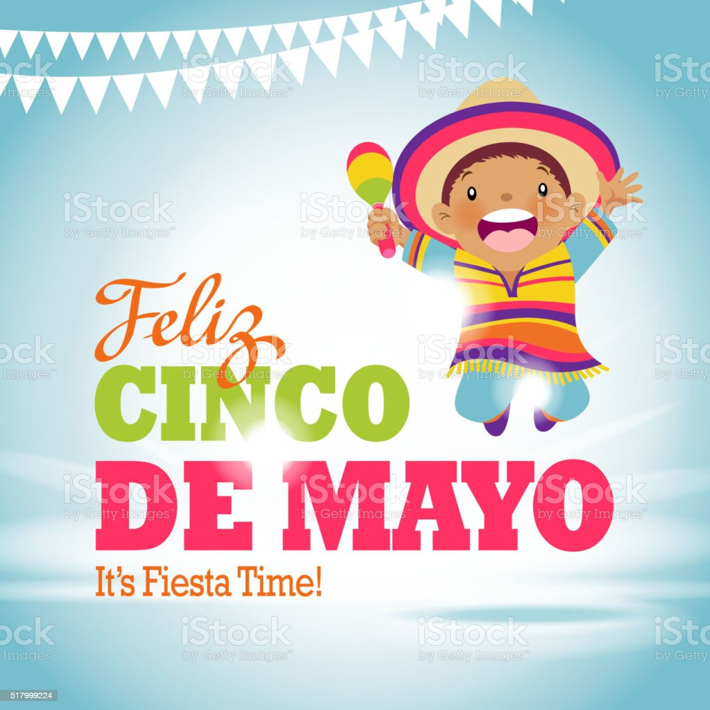 Cinco De Mayo Kids Party vector art illustration