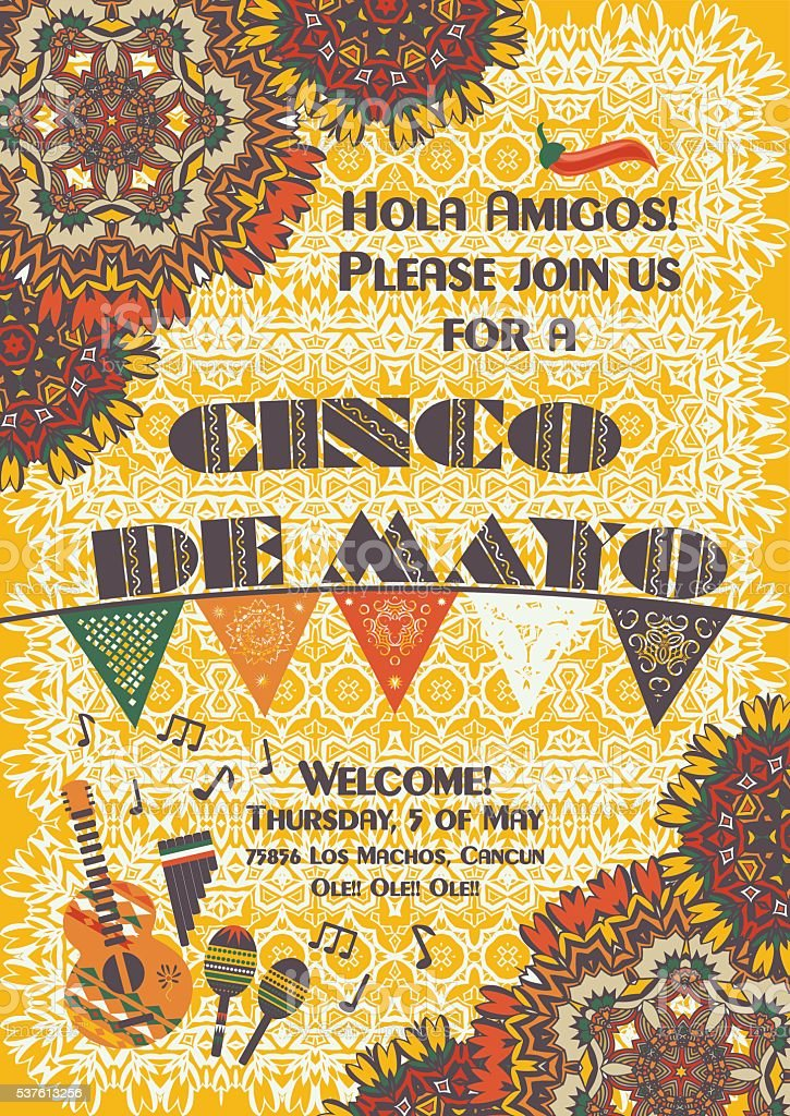 Cinco de Mayo Mexican festive poster template vector art illustration