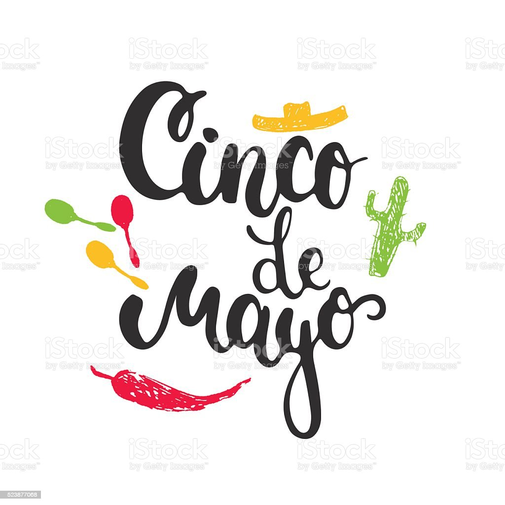 Cinco de Mayo mexican greeting card with hand drawn sketch vector art illustration