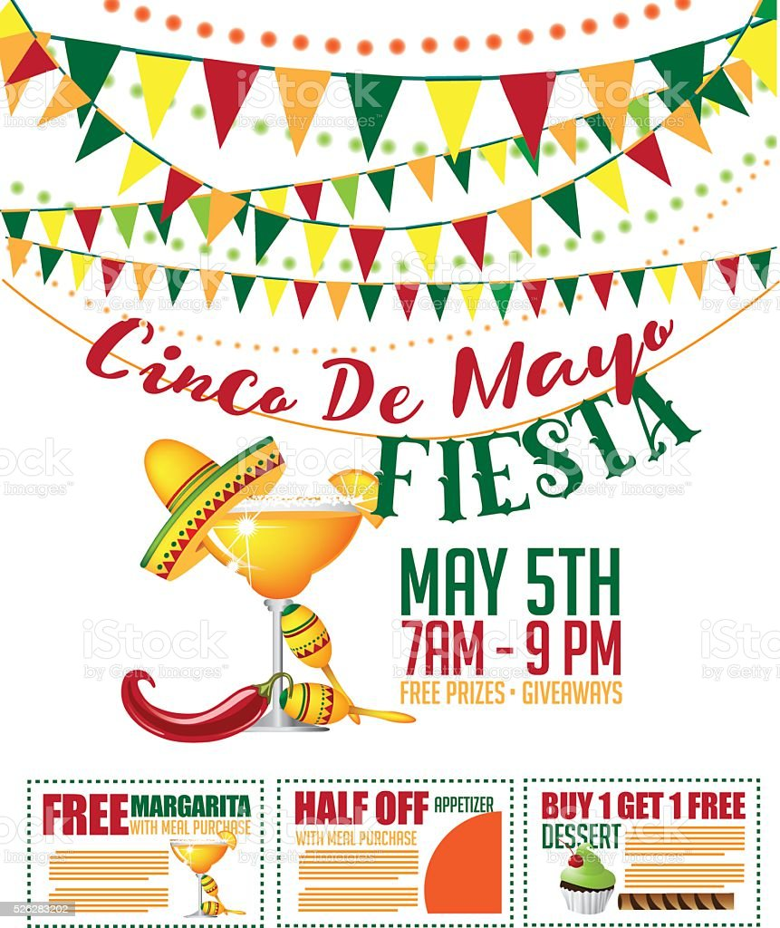 Cinco de Mayo sale bunting and coupon marketing template. vector art illustration