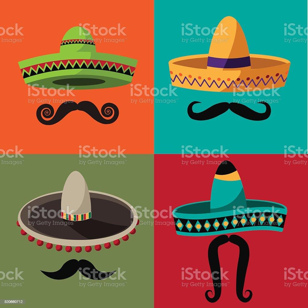 Cinco De Mayo sombrero and mustache flat design poster vector art illustration