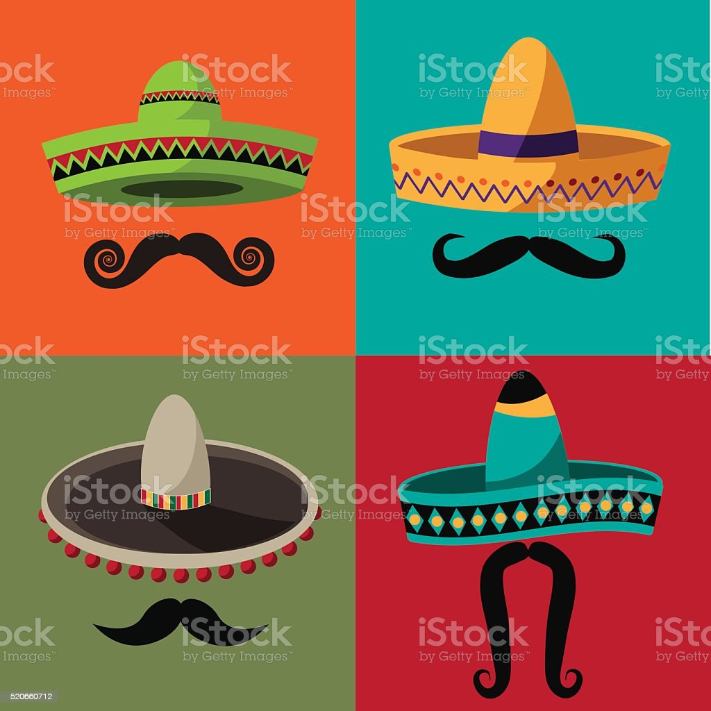 Cinco De Mayo sombrero and mustache flat design poster vector art illustration