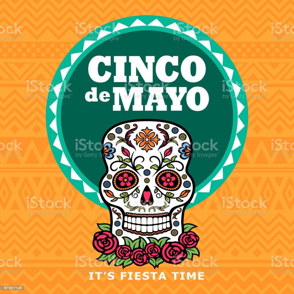 Cinco De Mayo Sugar Skull Fiesta vector art illustration