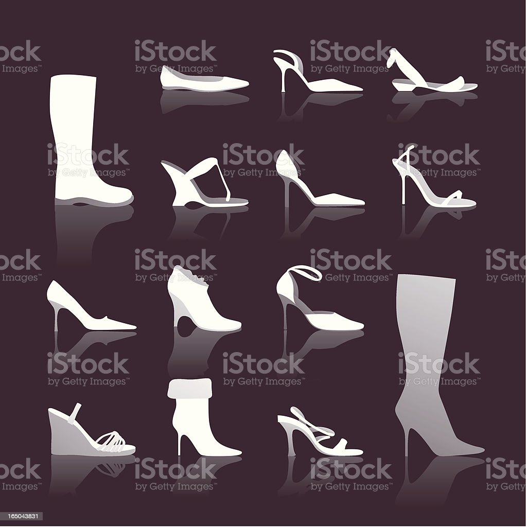 Cinderella blues: Shoe collection icons in black and white royalty-free stock vector art