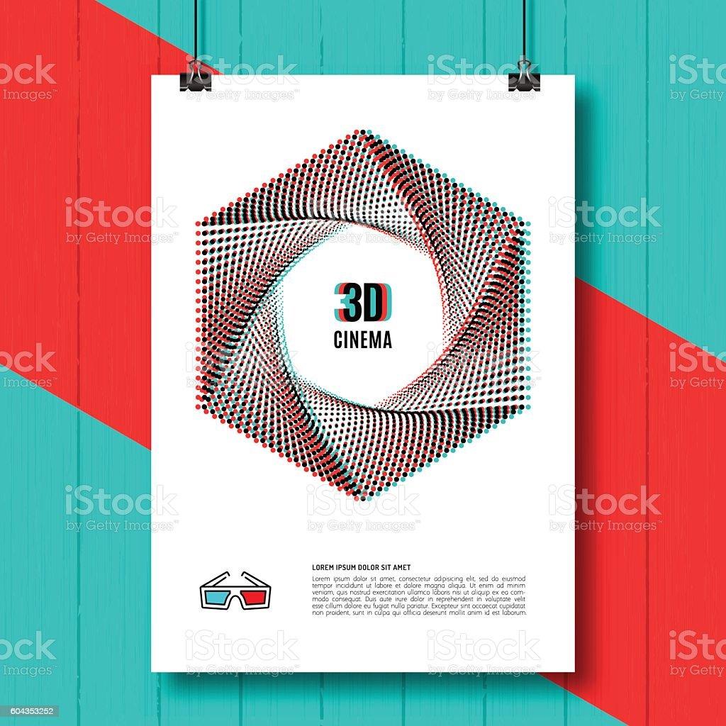 Cinema 3D creative concept poster brochure, movie, glasses line icon vector art illustration