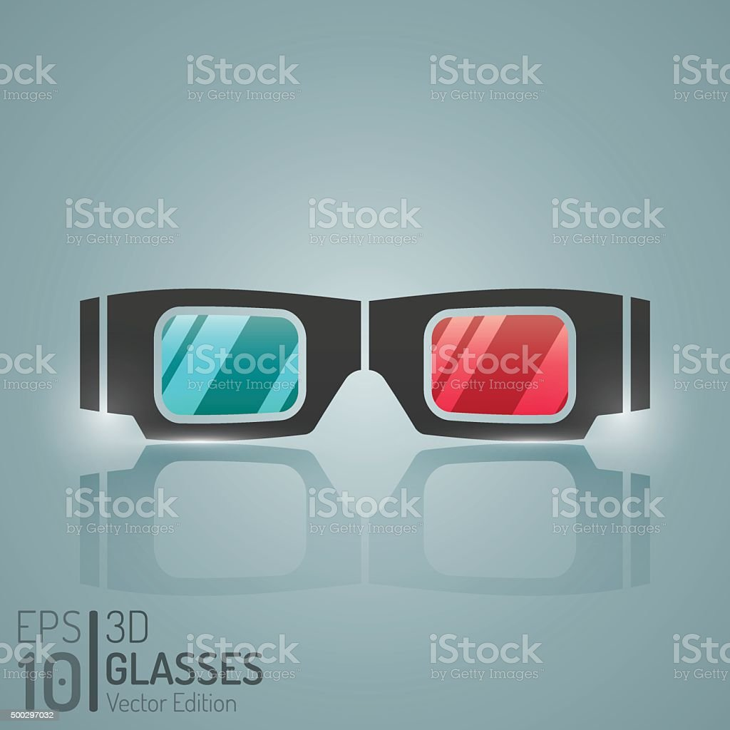 Cinema 3D Glasses Design. Vector Elements. Creative 3D Glasses Illustration vector art illustration