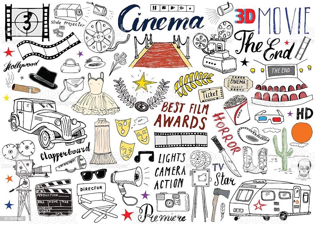 Cinema and Film Industry Set. Hand Drawn Sketch, Vector Illustration. vector art illustration