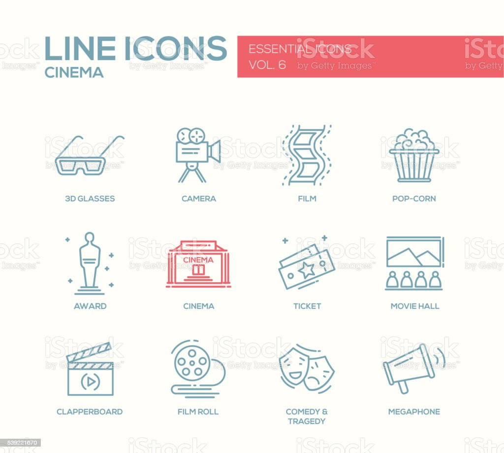 Cinema and movie icons set vector art illustration