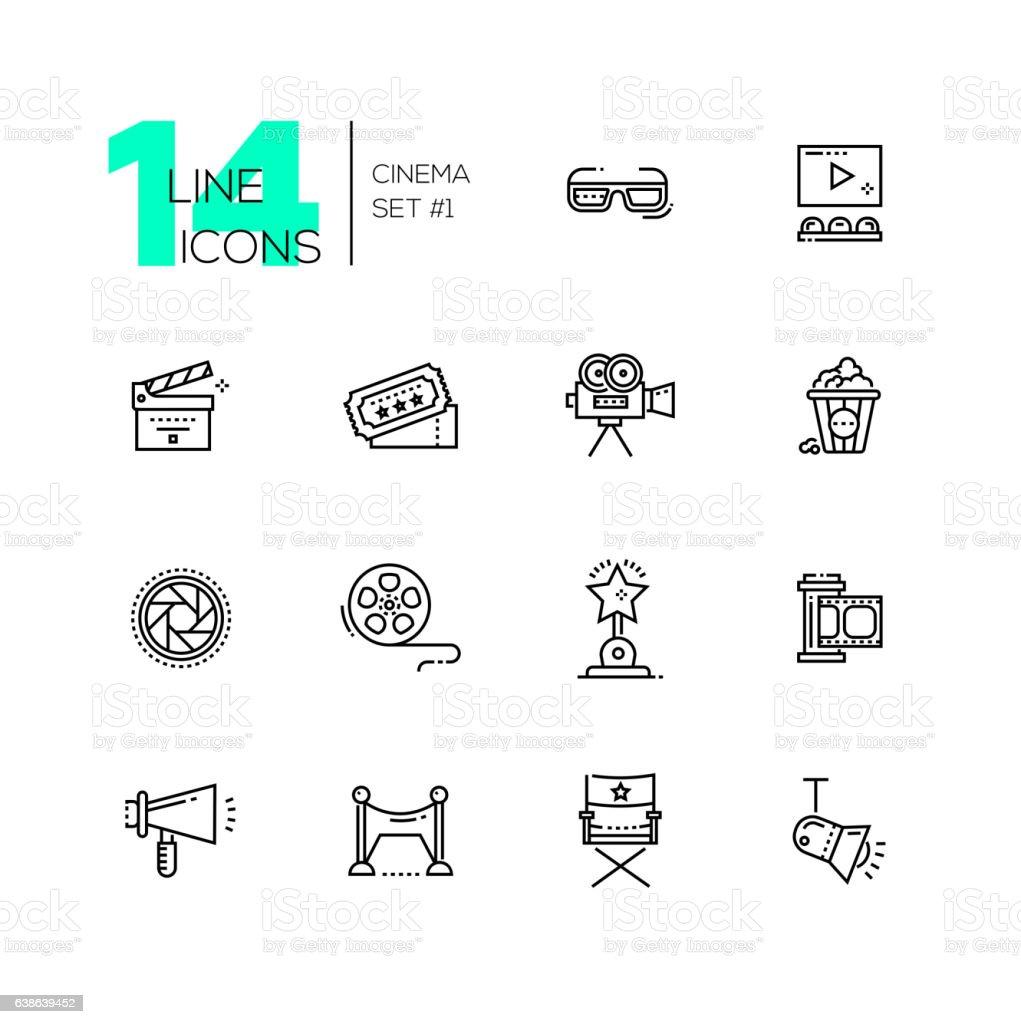 Cinema and movie line icons set vector art illustration