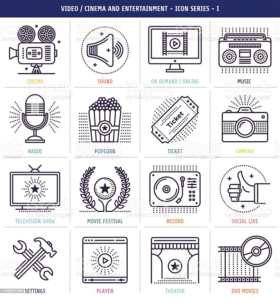 Cinema and Music Icons Set vector art illustration