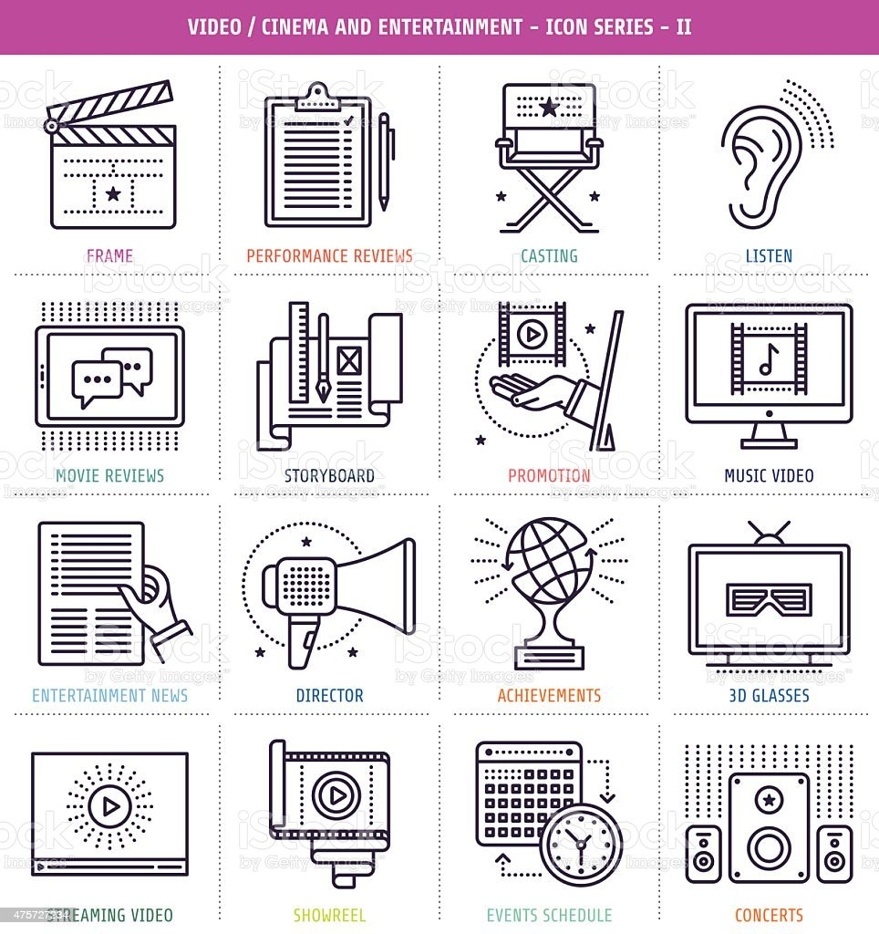 Cinema and Music Icons Set vector art illustration