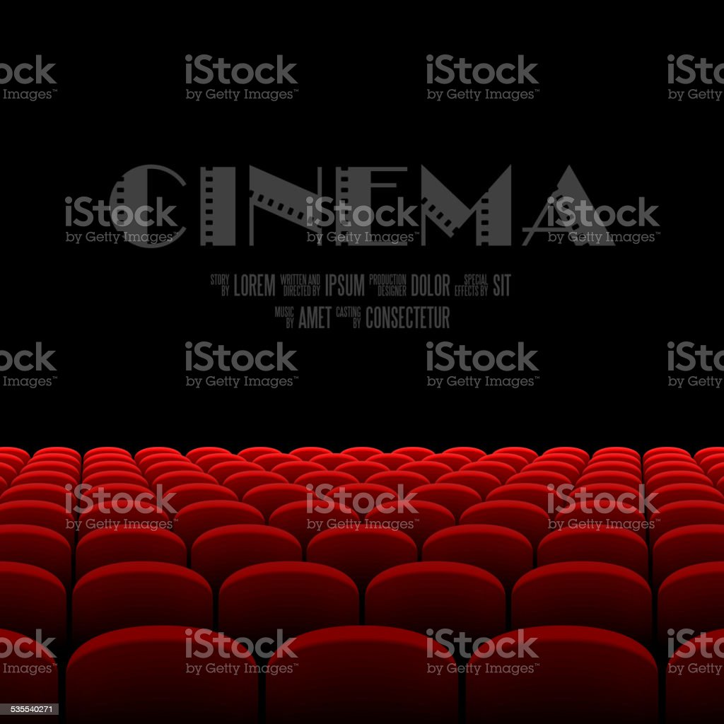 Cinema auditorium with black screen vector art illustration