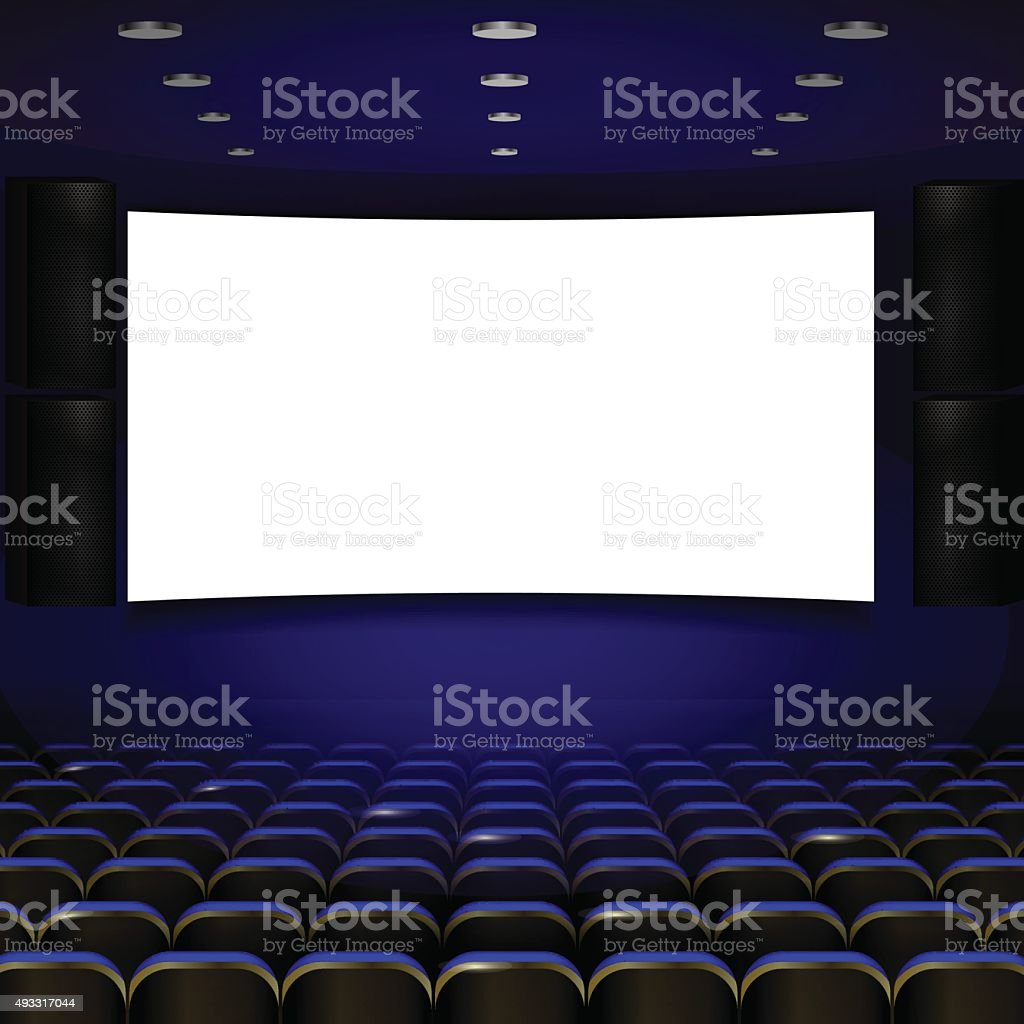 Cinema auditorium with screen and seats. Vector. vector art illustration
