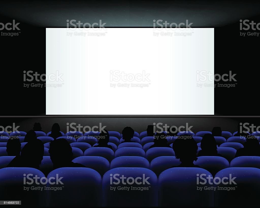 Cinema auditorium with seats, peoples and blank screen vector art illustration