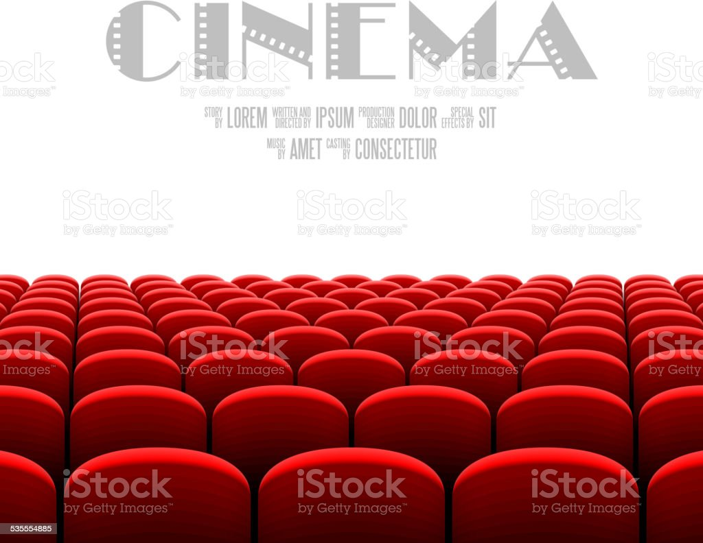 Cinema auditorium with white screen vector art illustration